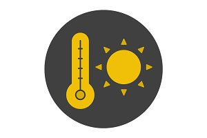 Summer heat glyph color icon