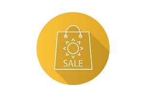 Summer sale flat linear long shadow icon