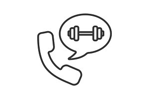 Phone call to gym linear icon