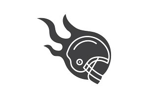 Burning rugby player's helmet glyph icon