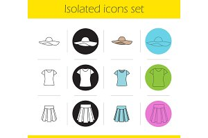 Women's clothes icons set