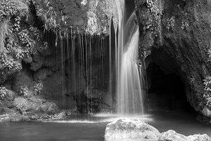 Beauty waterfall on B&w