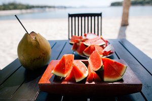 juicy watermelon and dragon fruit