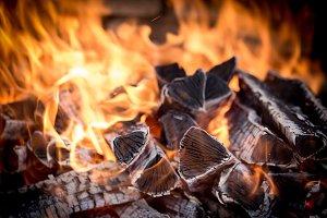 burning fire wood