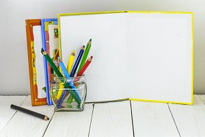 childrens creativity, pencils, scissors, colored paper