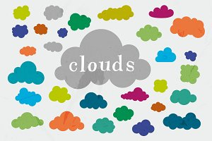 30 Vector Cloud Shapes