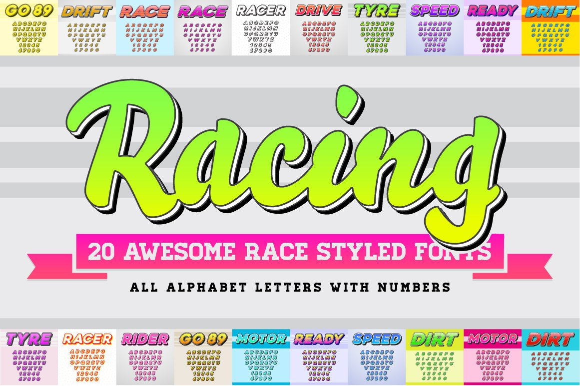 Awesome 20 racing fonts with numbers display fonts creative market