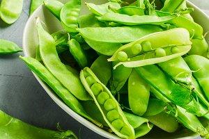 Organic food concept - green peas