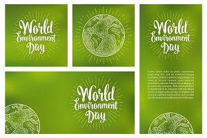 Set horizontal, vertical, square posters World environment day with lettering
