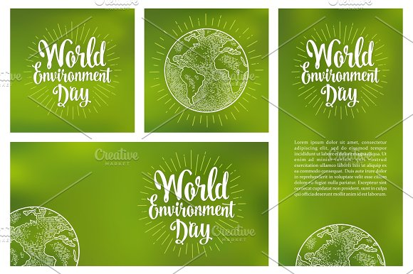 Set Horizontal Vertical Square Posters World Environment Day With Lettering