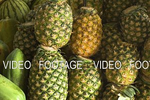 Pineapple in the fruit market