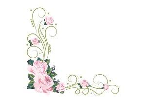 Vintage frame with pink roses