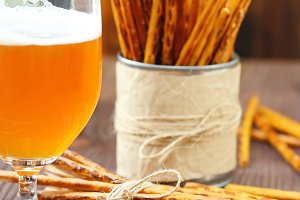 Beer and salted sticks