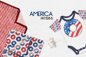 America - Watercolor Patterns