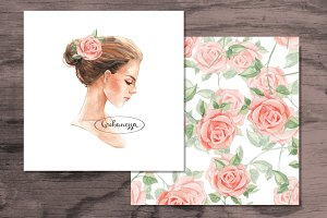Romantic girl and roses. Watercolor