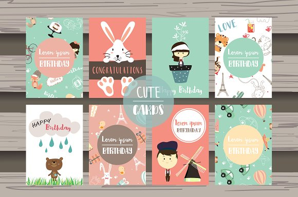 8 Cute Lovely Design Animal Cards4#