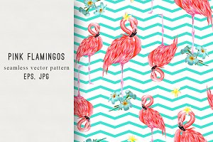 Pink flamingos abstract pattern