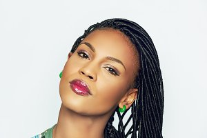 African model with braids isolated on white