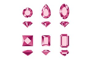 Red gemstones and diamonds shapes