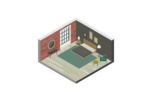 Bedroom in isometric view