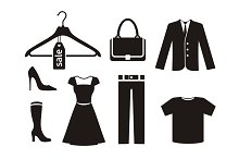 Clothes icon set in black