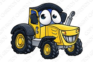 Cartoon Farm Tractor Character