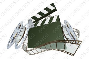 Film clapperboard and movie film reels