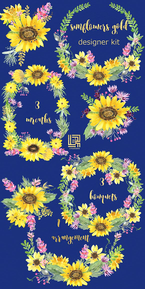 Sunflowers and pink flowers clipart - Creative Daddy