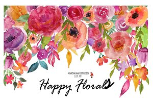 Floral clip art, flower watercolor