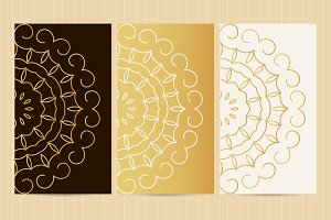 Set of flyers in golden color №3
