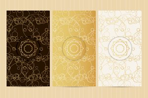 Set of flyers in golden color №4