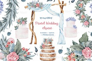 Pastel wedding watercolor clipart