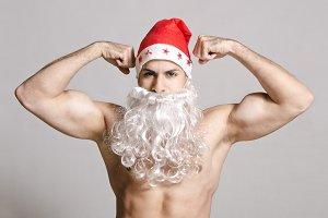 Strong Santa posing