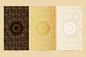 Set of flyers in golden color №2