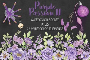 Purple watercolor border + elements