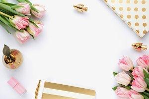 Styled stock photo - tulips & gold