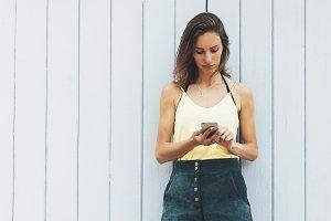 Young women using smart phone