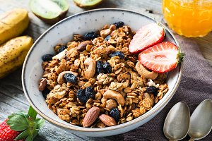 Granola with dried fruits and nuts