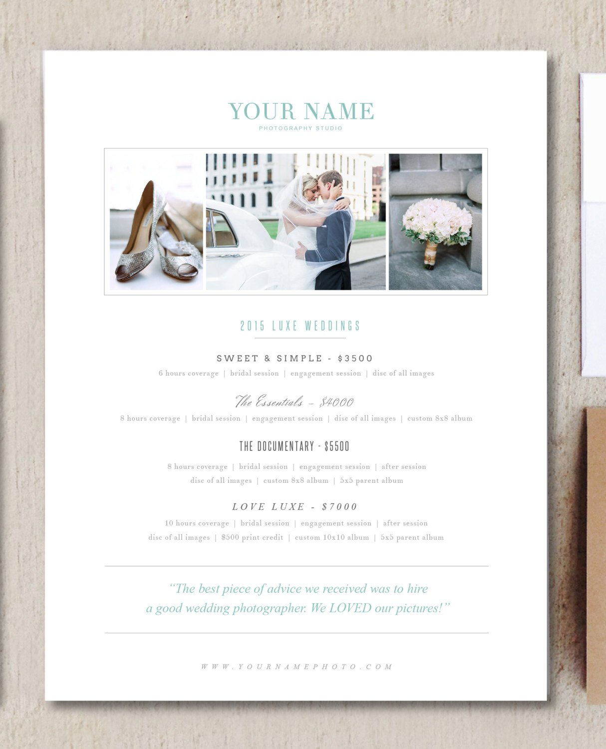 Wedding Photographer Pricing Guide Brochure Templates Creative - Free pricing template for photographers