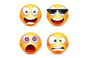 Smiley with pixel glasses,smiling emoticon. Yellow face with emotions. Facial expression. 3d realistic emoji. Funny cartoon character.Mood. Web icon. Vector illustration.