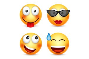 Smiley,smiling emoticon. Yellow face with emotions. Facial expression. 3d realistic emoji. Funny cartoon character.Mood. Web icon. Vector illustration.