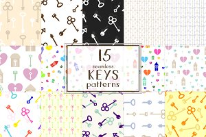 15 Keys seamless patterns