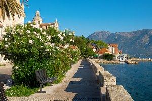 Street in town Prcanj, Montenegro