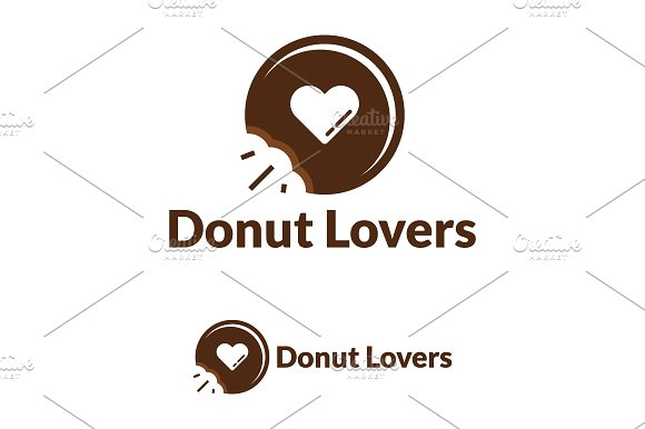 Donut Lovers Logo Template Logo Templates Creative Market