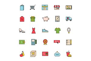 Thin lines shop store delivery service web icons commerce shopping buy purchase sale business vector
