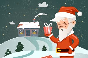 Retro Santa Claus with Gift