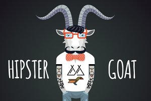 Hipster goat, vector