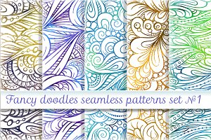 Fancy doodles seamless patterns set