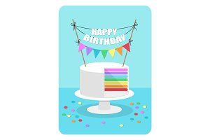 Cute flat style illustration of rainbow cake with festive bunting