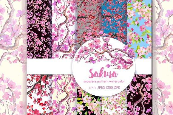 Seamless Pattern Sakura Cherry